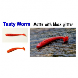 Tasty Worm, 50mm, 0,8g Variant: White with red glitter