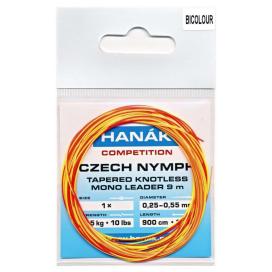 HANÁK Náväzec Competition Czech Nymph monofilné ujímání Bicolour 9 m 0,25 - 0,55 mm 4,5 kg
