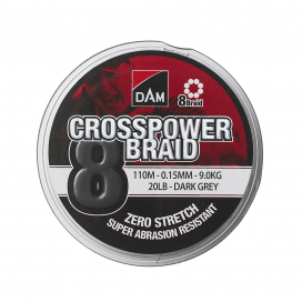 Rybárska šnúra Dam Crosspower 8-Braid 0.20my / 12.6Kg / 28Lb / 150M-Dark Grey