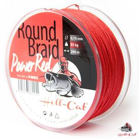 Hell-Cat Splietané šnúra Round Braid Power Red 1000m - 0,70mm (85,0kg)