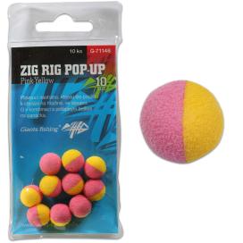 Giants Fishing Penové plávajúce boilie Zig Rig Pop-Up pink-yellow 10mm, 10ks