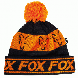 Fox čiapky Black & Orange lined bobble