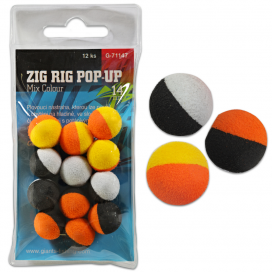 Giants Fishing Penové plávajúce boilie Zig Rig Pop-Up mix colour 14mm, 12ks