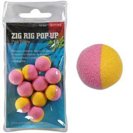 Giants Fishing Penové plávajúce boilie Zig Rig Pop-Up pink-yellow 14mm, 10ks