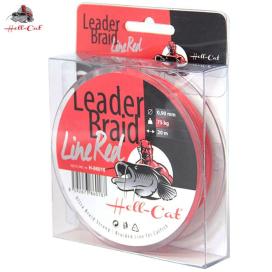 Hell-Cat Náväzcové šnúra Leader Braid Line Red 0,90mm, 75kg, 20m